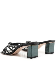 Mule Block Heel Strings Black