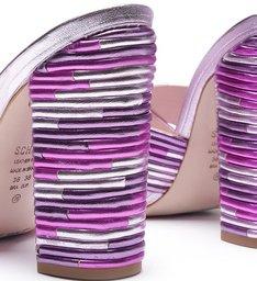 Sandália Mule Textures Metallic Purple