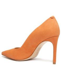 Sapato Scarpin Salto Nobuck Laranja