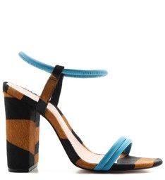 Sandália Salto Zebra Soft Blue
