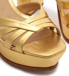 Sandália Salto Meia Pata Couro Dourada