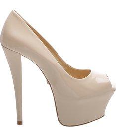Sapato Peep Toe Super High Nude