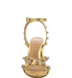 Sandália Block Heel Crystal Gold
