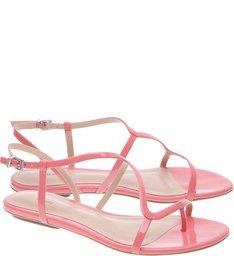 Sandália Rasteira Verniz Shell Pink