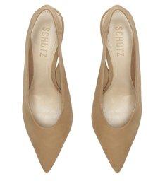 Sapato Scarpin Salto Camurça Bege