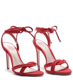 Sandália Lace-Up Nobuck Vermelha