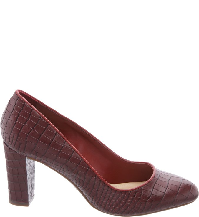 Scarpin Croco Red Wine