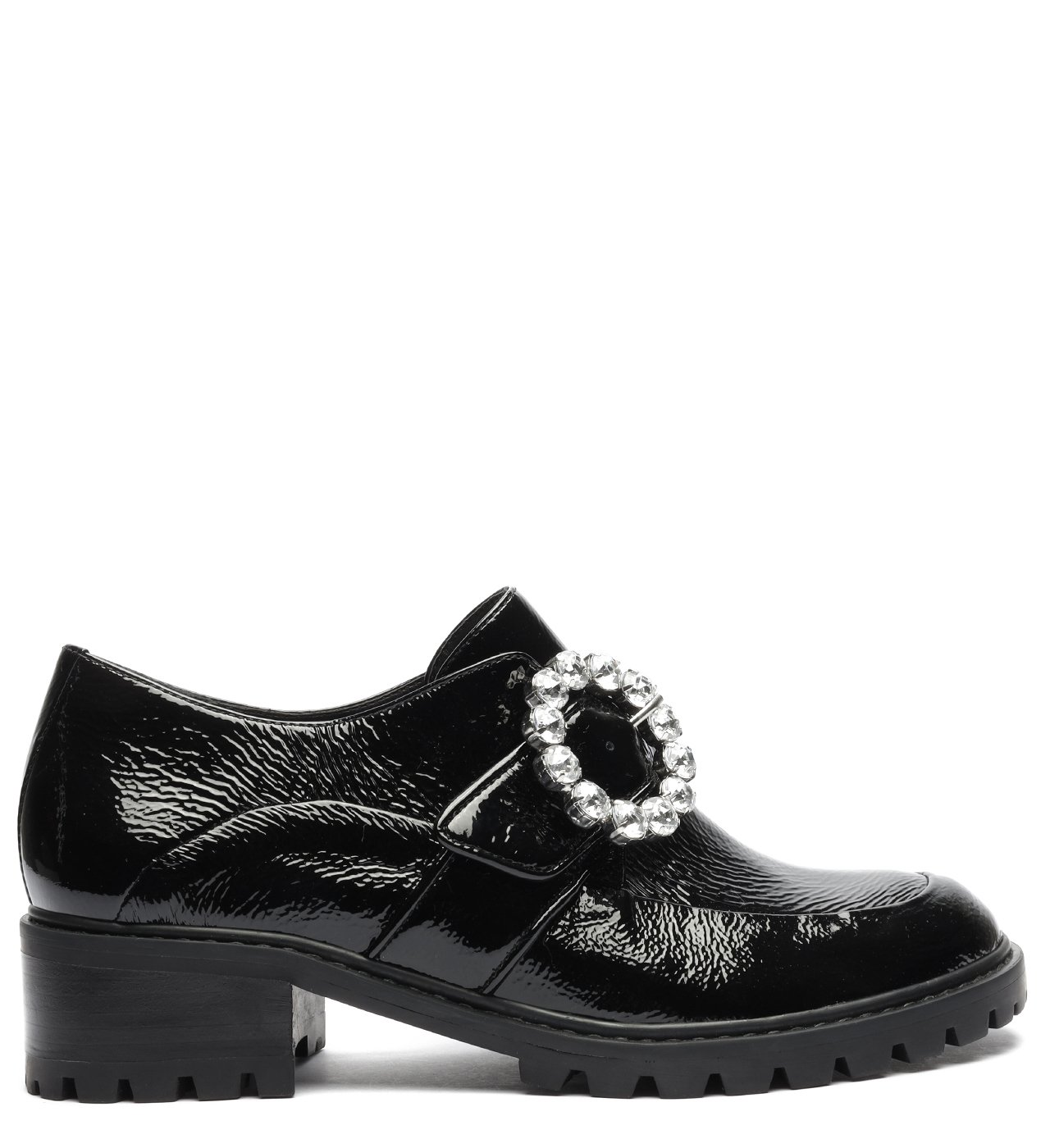 Sapato Oxford Tratorado Verniz Fivela Preto   Schutz