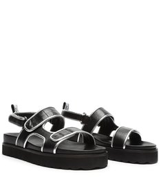 Sporty Sandal Leather Black/Silver