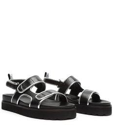Sporty Sandal Leather Black/Silver