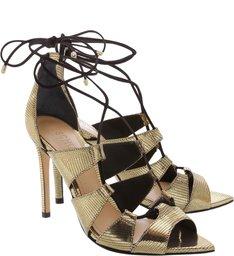 Sandália Bico Folha Lace-Up Gold