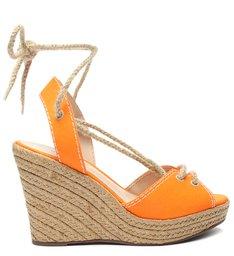 Sandália Anabela Corda Neon Orange