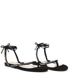 Sandália Rasteira Lace-Up Glam Pedraria Black