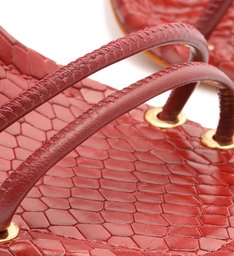 Sandália Salto Bloco Madeira Couro Vermelha