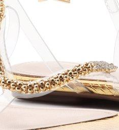 Sandália Rasteira Curves Vinil Gold