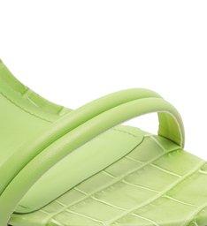 Sandália Salto Bloco Alto Croco Tiras Verde