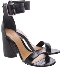 Sandália Salto Cone Croco Black
