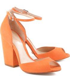 Sandália Salto Bloco Orange Paradise