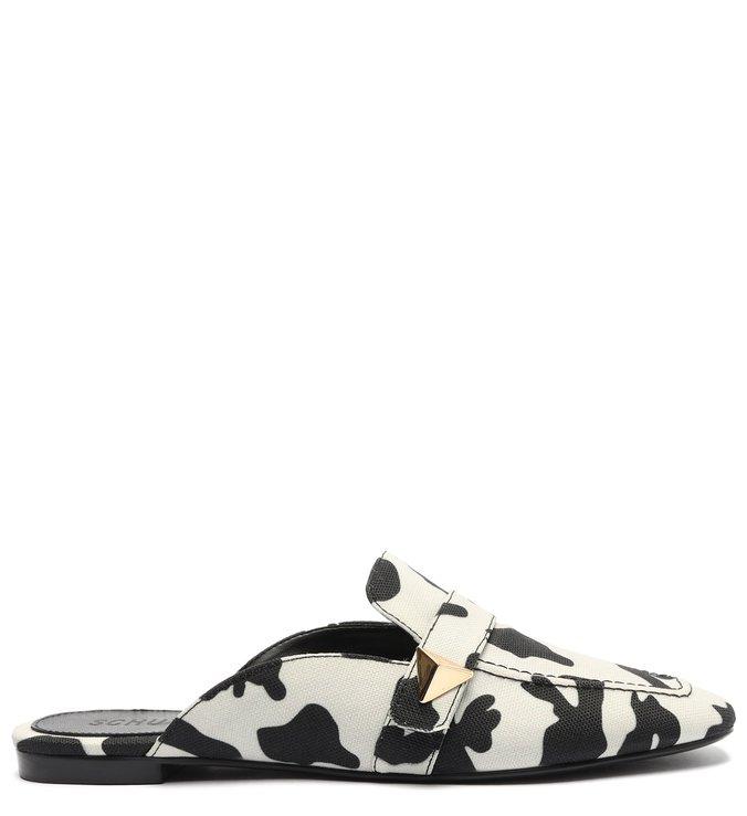 Sapato Mule Rasteira Lona Estampa Vaca Branco
