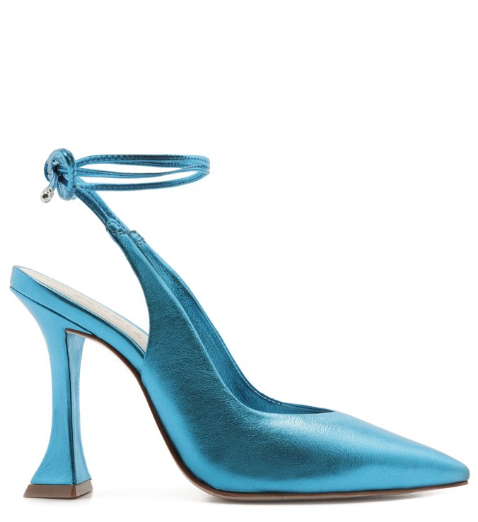 Scarpin Lace-Up Metallic Blue