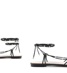 Flat Strings Lace-Up Studs Black