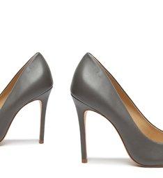 Sapato Scarpin Salto Fino Couro Cinza