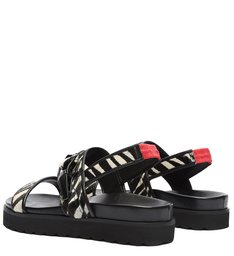 Sporty Sandal Flatform Zebra Preto e Branco