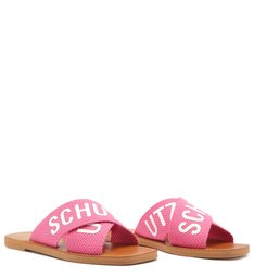 Sandália Rasteira de X Logo Schutz Rosa