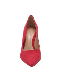 Sapato Scarpin Salto Nobuck Vermelho