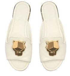 Sapato Mule Baixo Aberto Couro Branco Panther