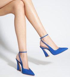 Sapato Scarpin Slingback Salto Arquitetônico Azul