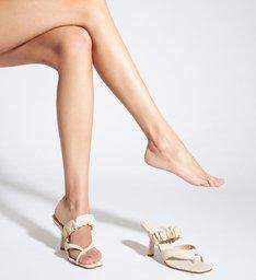 Sandália Mule Salto Couro Croco Branca