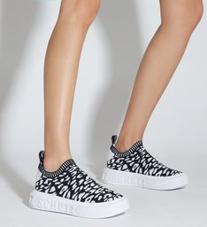 Tênis It Schutz Knit Animal Print P&B