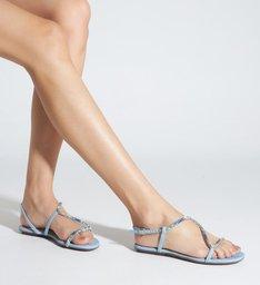 Sandália Rasteira Curves Glam Blue