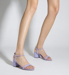 Sandália Salto Bloco Croco Lilás