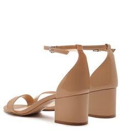 Sandália Salto Bloco Verniz Nude