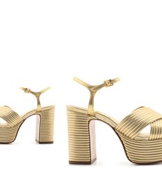 Sandália Meia Pata Textura Dourada