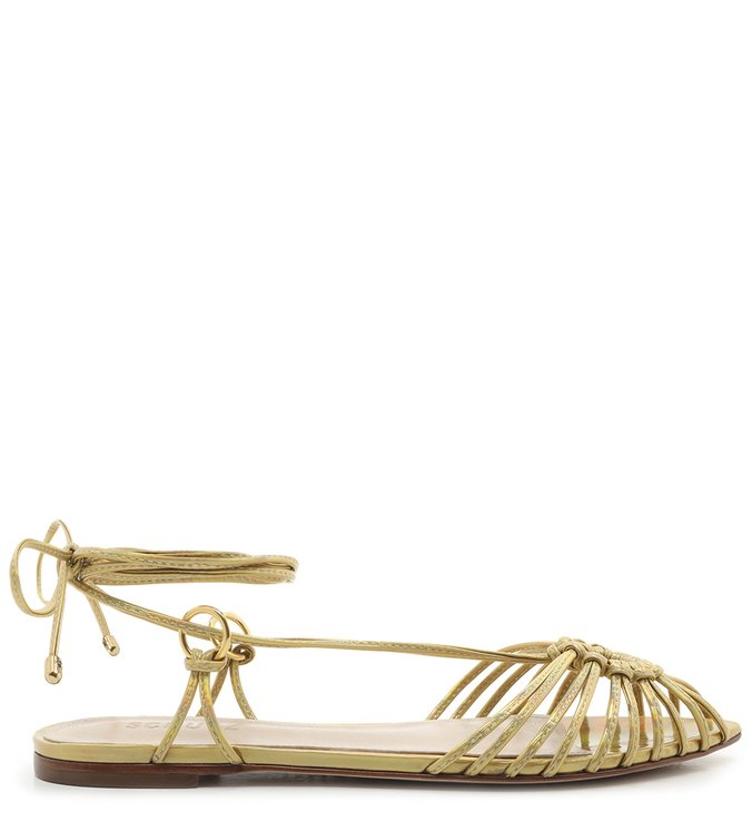 Flat Strings Lace-Up Metallic Gold