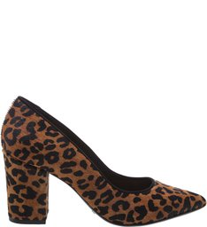 Scarpin Block Heel Animal Print