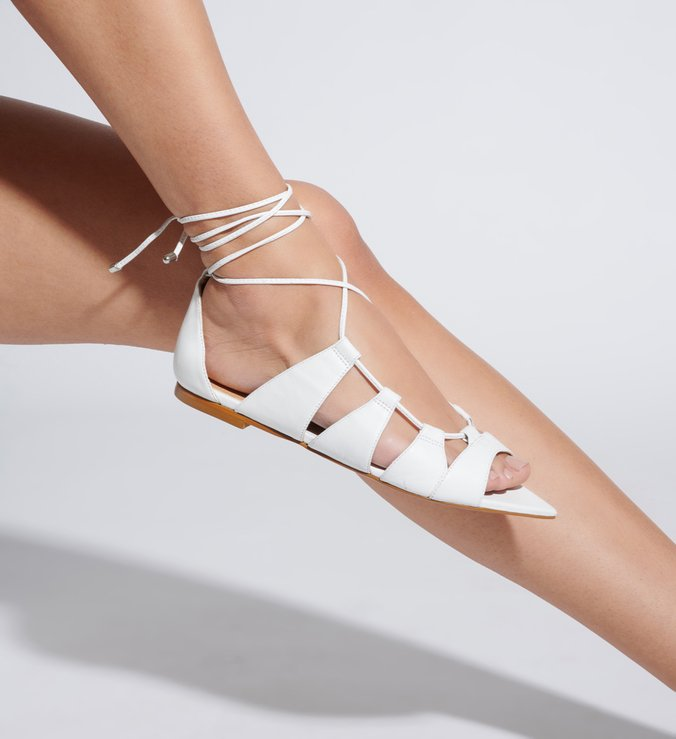 Flat Lace-Up Folha White