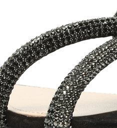 Sandália Rasteira Knot Glam Pedraria Black