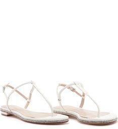 Sandália Rasteira Minimal Glam White