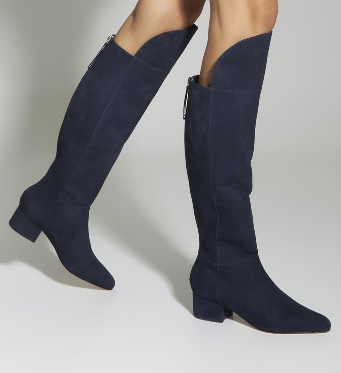 Bota Over The Knee Suede Blue