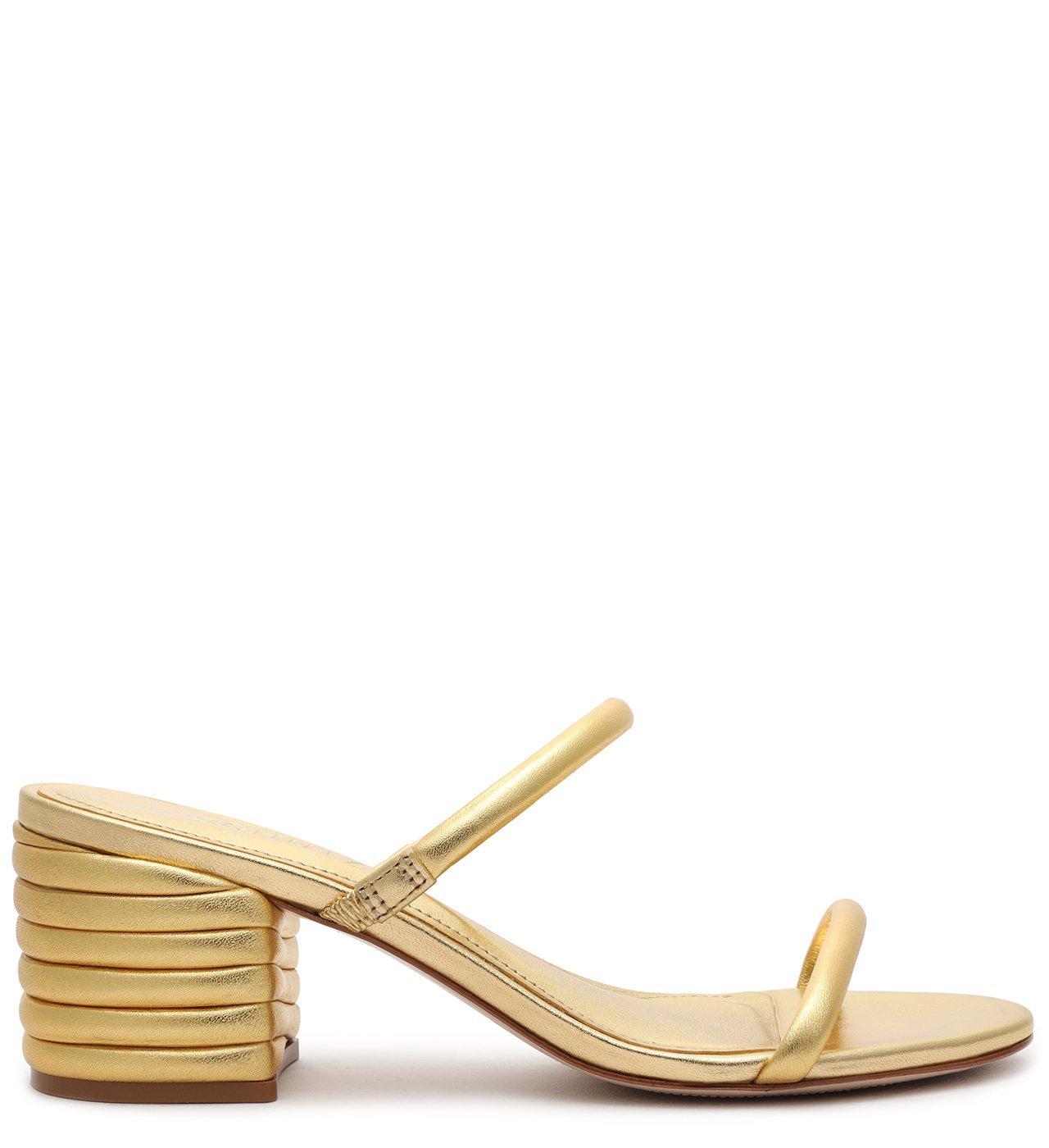 Mule Block Heel Texture Gold | Schutz
