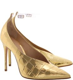 Scarpin Vinil Croco Golden