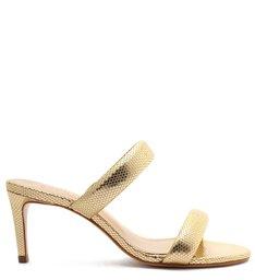 Sandália Mule Salto Médio Couro Tiras Dourada