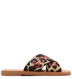 Sandália Rasteira de X Slide Schutz Estampa Girafa