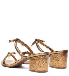 Sandália Mule Salto Bloco Bronze