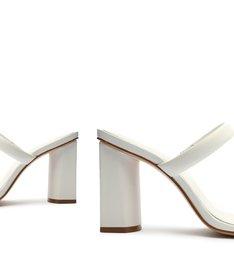Sandália Mule Salto Bloco Alto Couro Tiras Branca