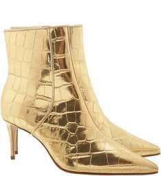 Bota Mid Heel Golden Croco